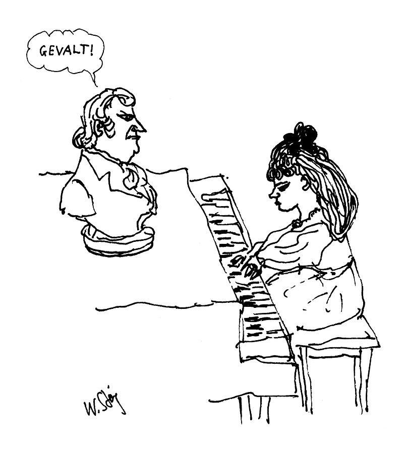 Woman Playing Piano Drawing by William Steig