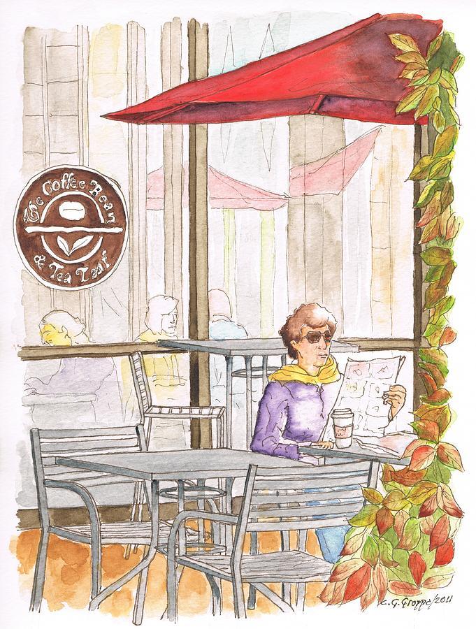Woman Reading A Newspaper In The Coffee Bean, Riverside, California by  Carlos G Groppa