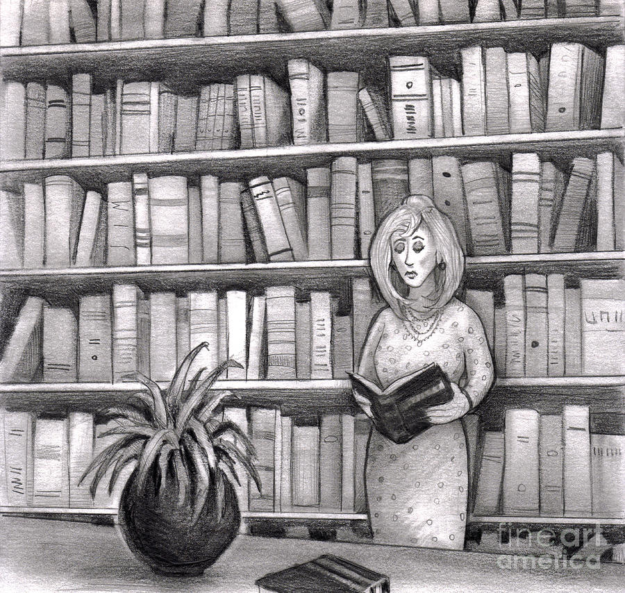 Line Drawing Library : Woman reading book in library drawing by lee serenethos