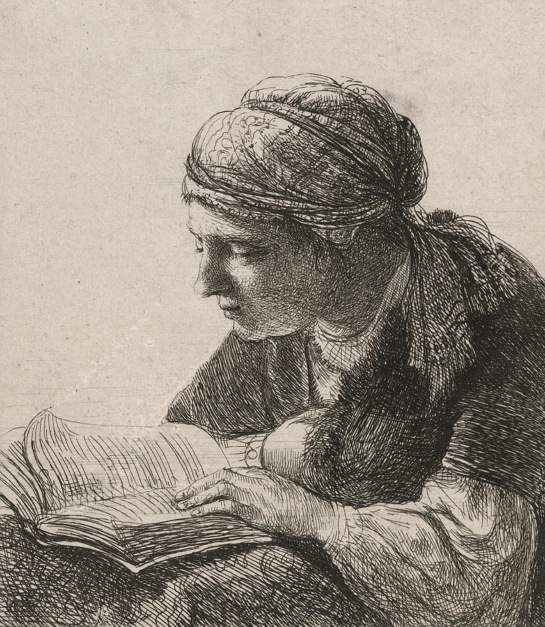 Woman Reading Drawing - Woman Reading by Rembrandt