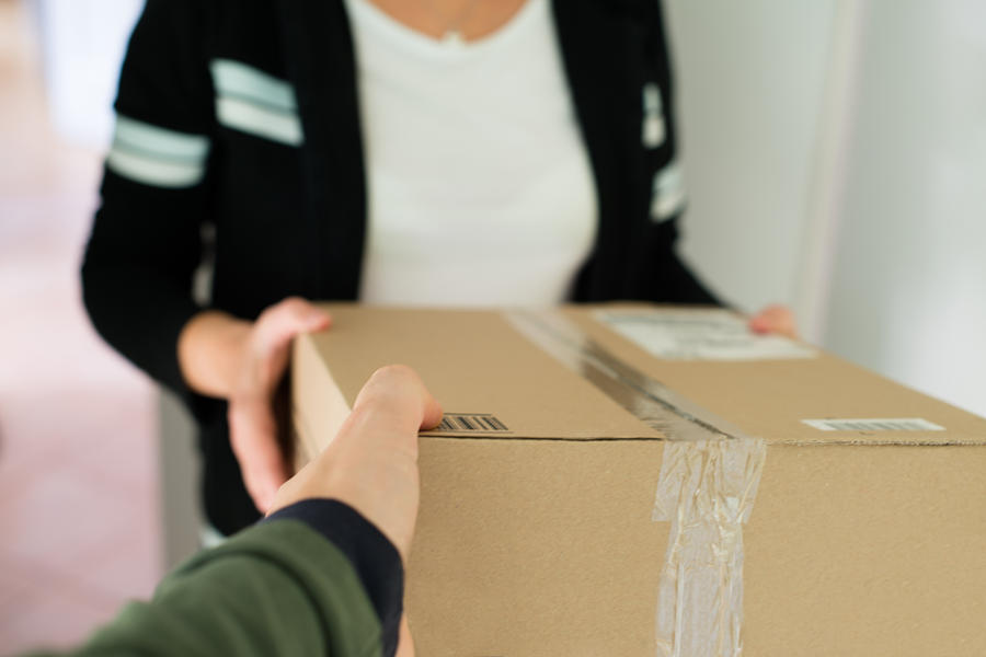 Package Photograph - Woman Receiving Parcel by Frank Gaertner