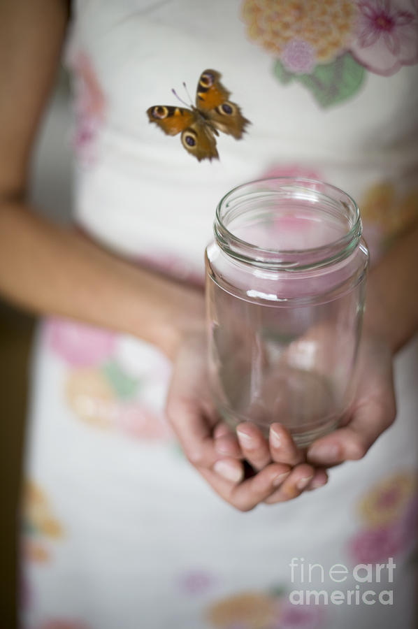 Woman Releasing Butterfly From Jam Jar Photograph By Lee