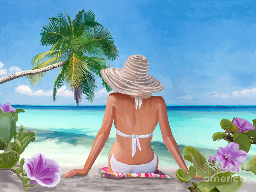 Woman Painting - Woman sandy beach by Tim Gilliland