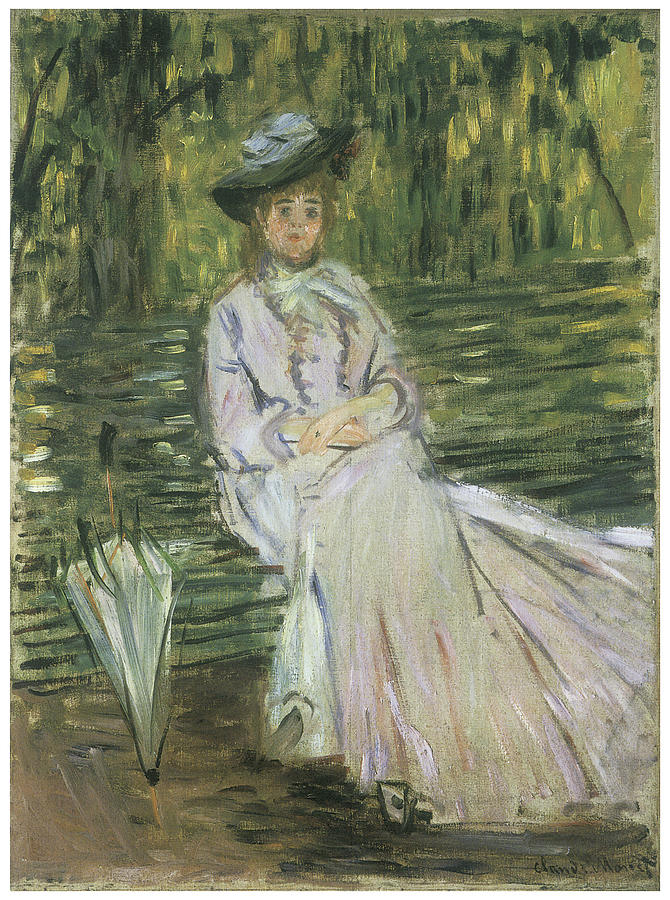 Victorian Woman Painting - Woman Seated On A Bench by Claude Monet