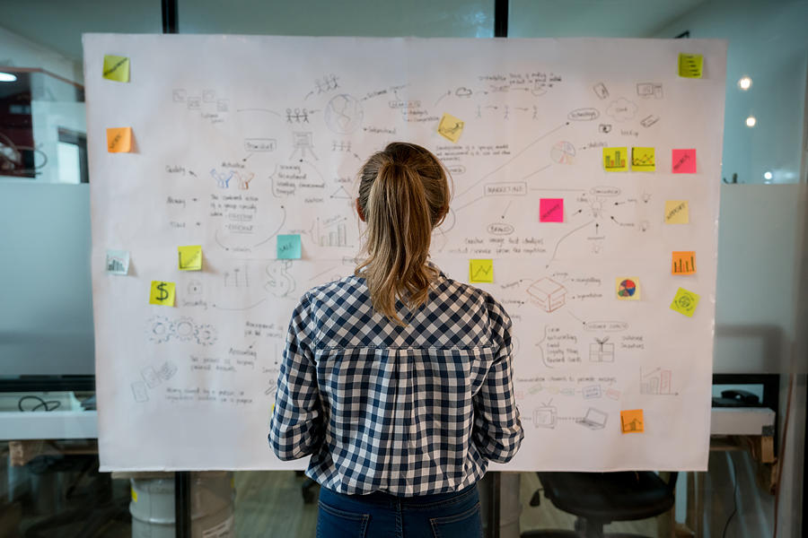 Woman sketching a business plan at a creative office Photograph by Andresr