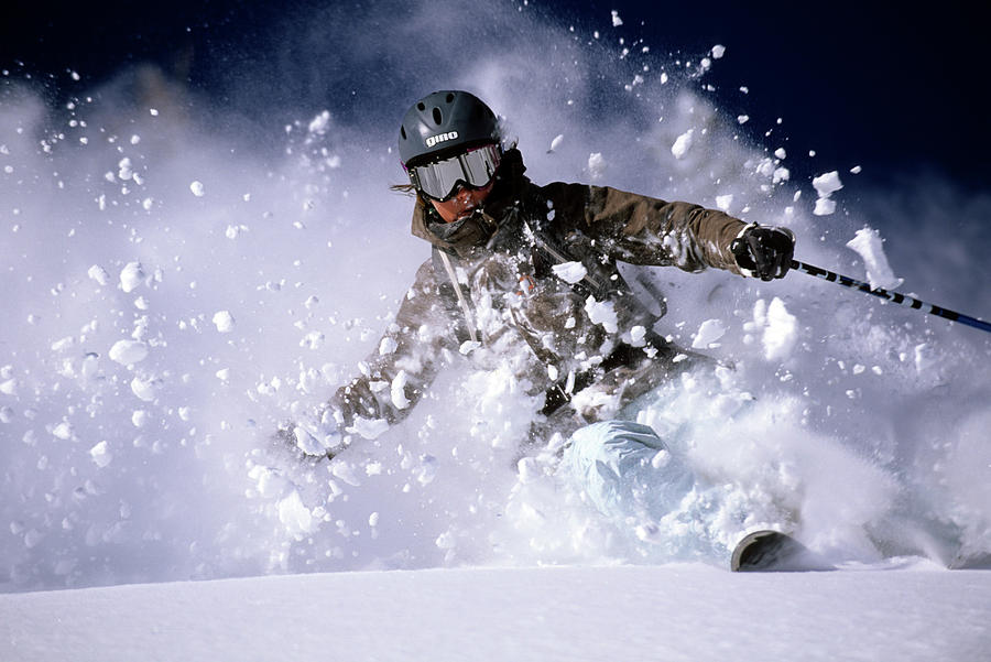Action Photograph - Woman Skiing Powder In The Wasatch by Scott Markewitz