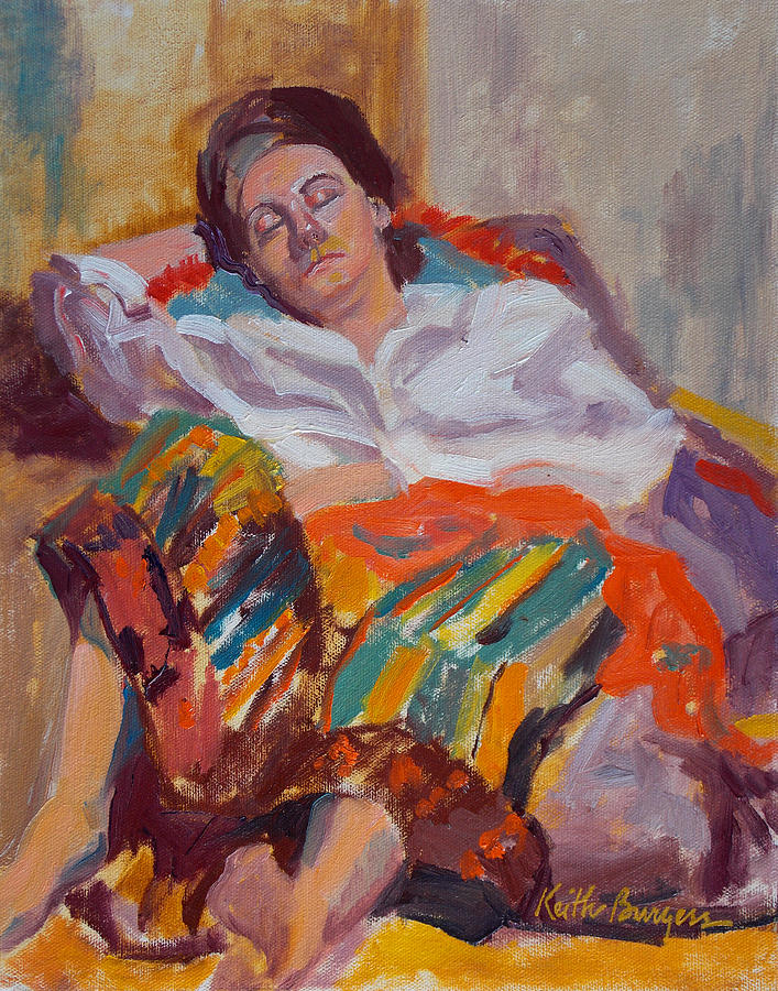 Portrait Painting - Woman Sleeping by Keith Burgess