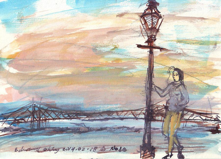 Jackson Drawing - Woman Standing Near Mississippi River by Edward Ching