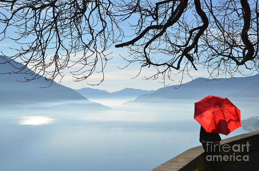 Water Photograph - Woman Standing With A Red Umbrella by Mats Silvan