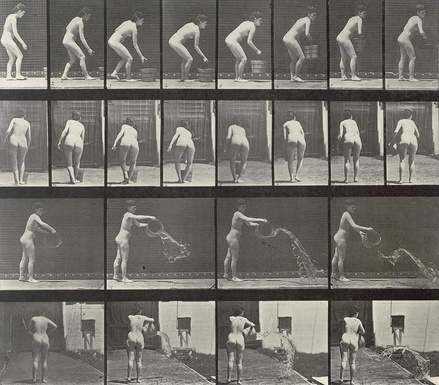 Muybridge Photograph - Woman Throwing A Bucket Of Water by Eadweard Muybridge