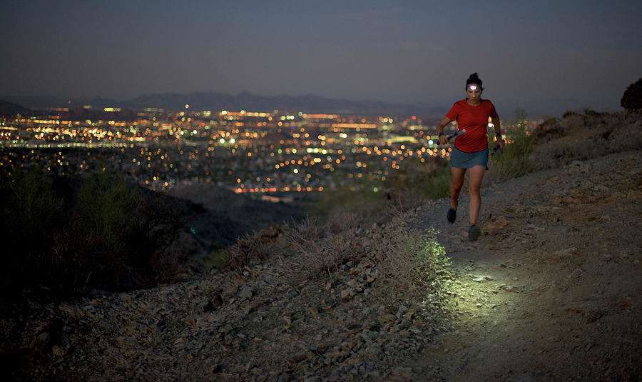 Women Photograph - Woman Trail Running In South Mountain by HagePhoto