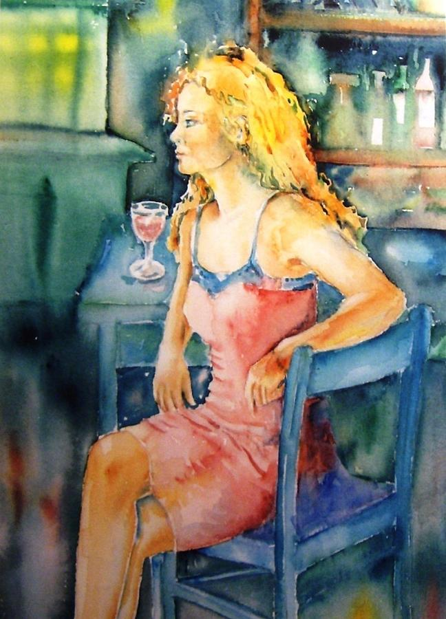 Woman Painting - Woman Waiting  by Trudi Doyle
