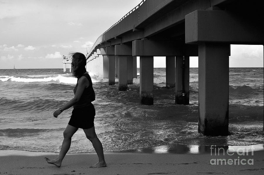 Pier Photograph - Woman Walking by Andres LaBrada