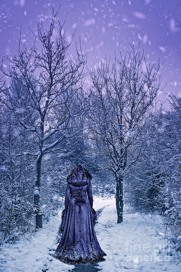 Woman Photograph - Woman Walking In Snow by Amanda Elwell