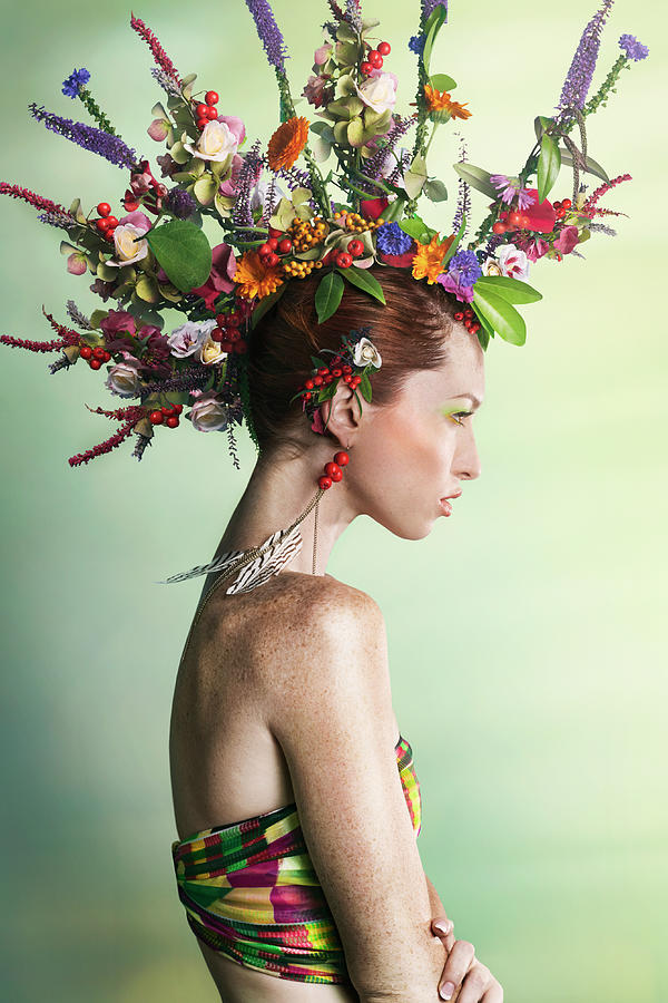 Environmental Conservation Photograph - Woman Wearing A Colorful Floral Mohawk by Paper Boat Creative