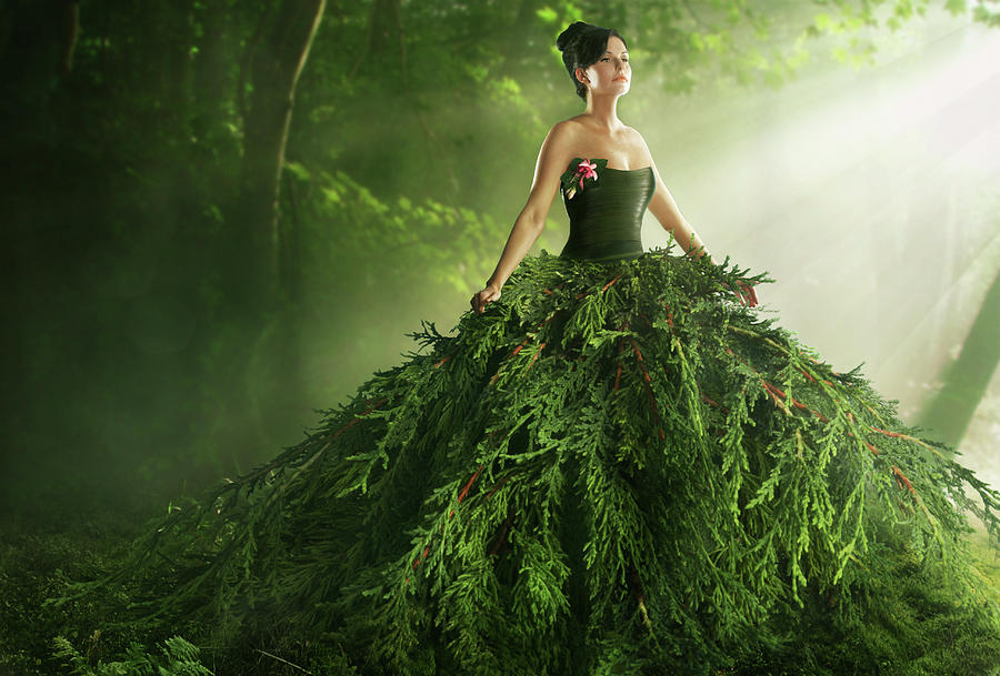 Woman Wearing A Large Green Gown In The Photograph by Paper Boat Creative