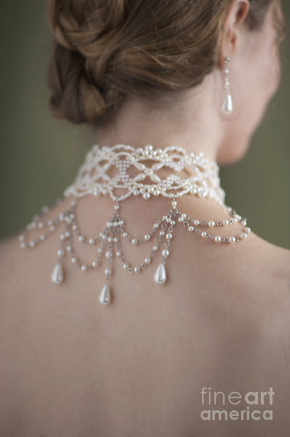 Woman Photograph - Woman Wearing A Pearl Necklace And Earring Set by Lee Avison