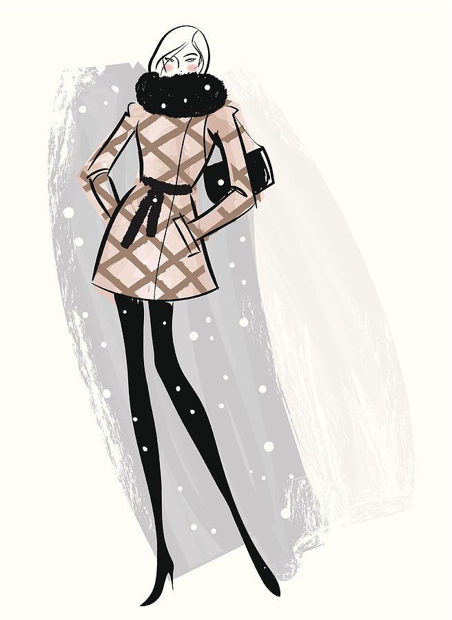 Woman Wearing Jacket In Snow Digital Art by Mcmillan Digital Art