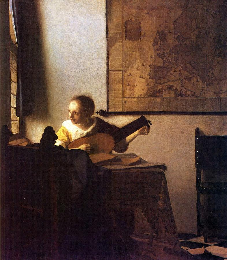 Woman Playing Guitar Painting - Woman With A Lute by Johannes Vermeer