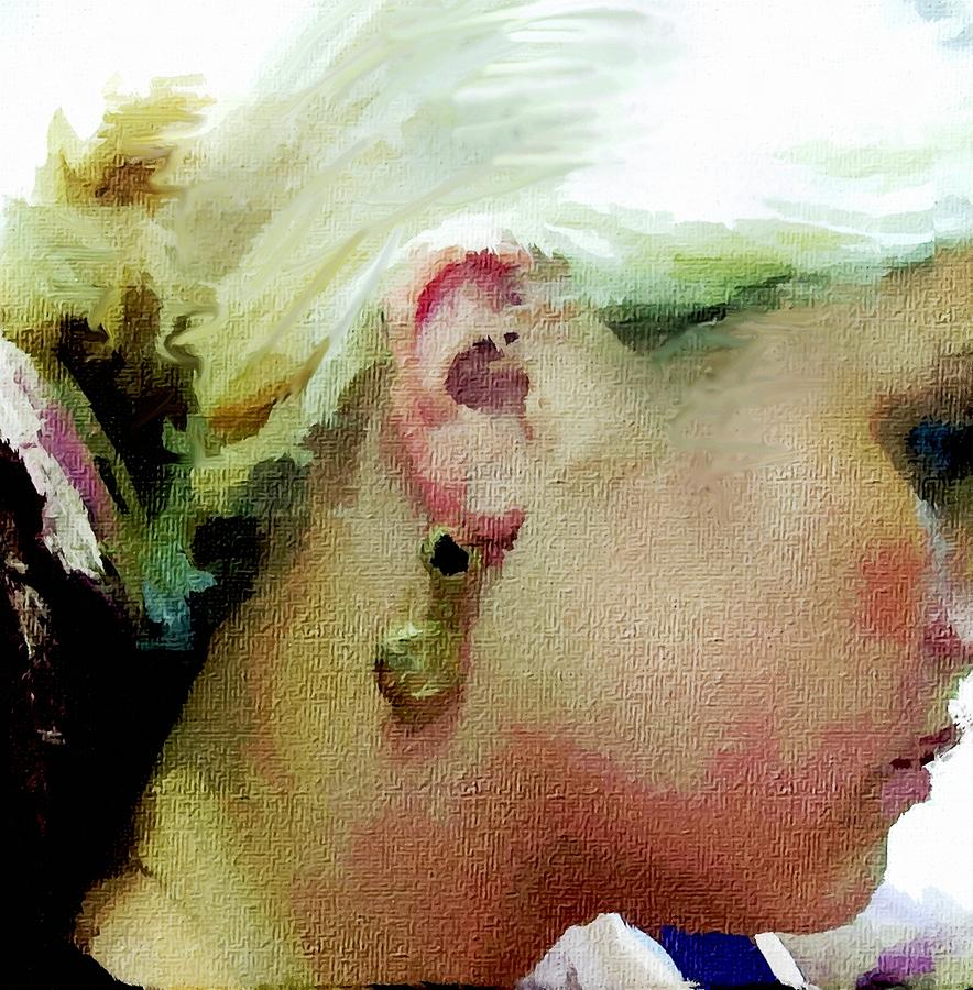 Abstract Digital Art Iphone Cases Canvas Prints Photograph - Woman With Antique Earrings by Judy Paleologos