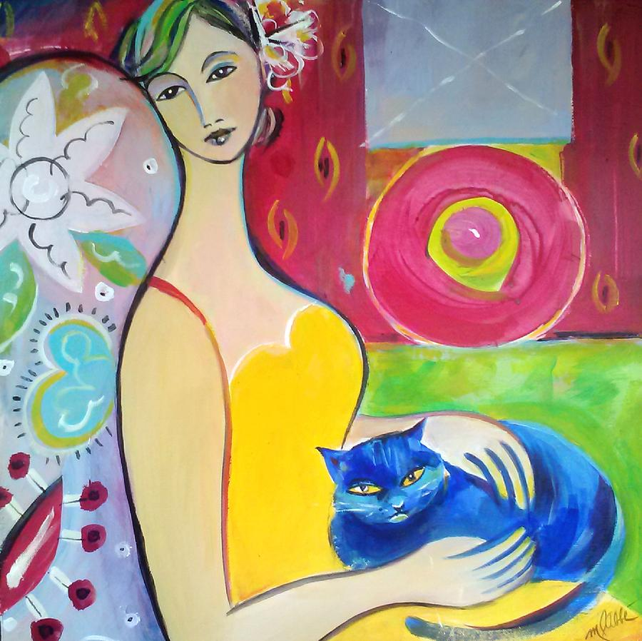 Woman Painting - Woman With Blue Cat by Marlene LAbbe