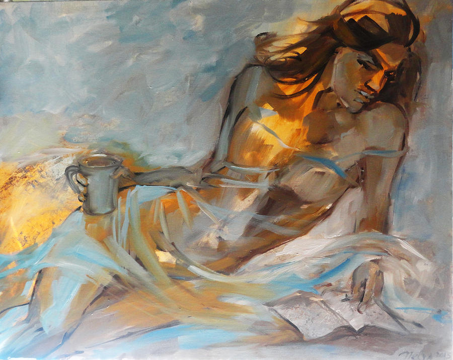 Painting Painting - Woman With Book by Nelya Shenklyarska