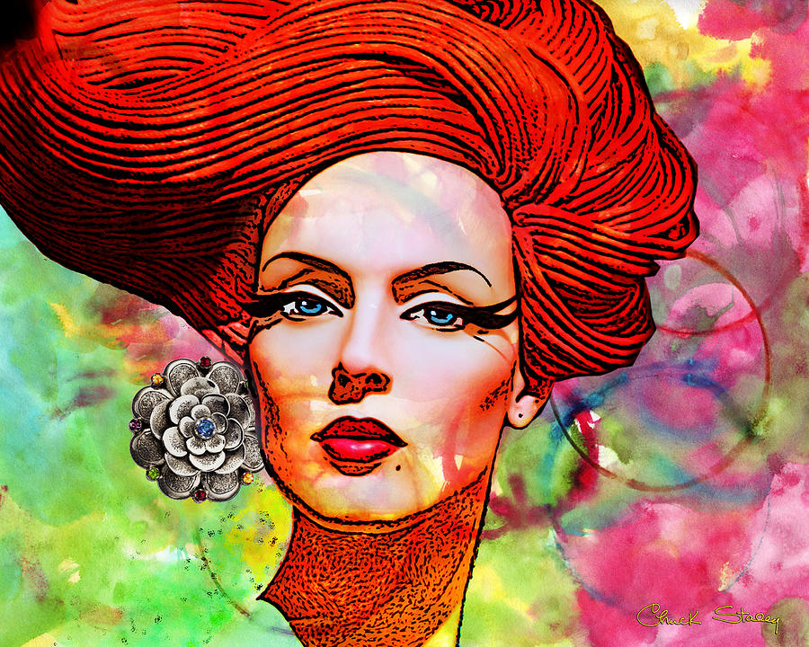 Redhead Mixed Media - Woman With Earring by Chuck Staley