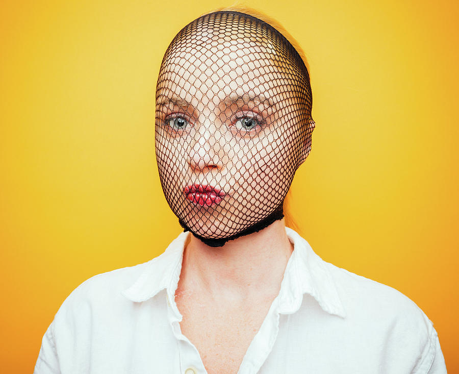 Woman With Fishnet Stocking Over Face Photograph by Ian Ross Pettigrew