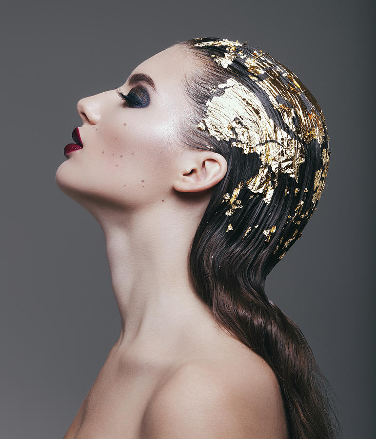 Woman With Foil Hairstyle Photograph by Lambada