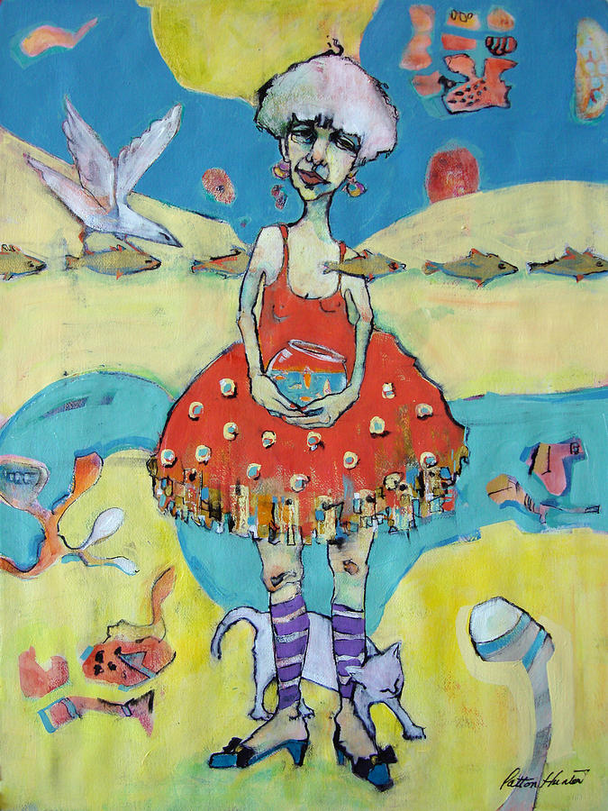 Whimsical Painting - Woman with Gold Fish by Patton Hunter