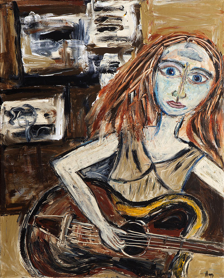 Abstract Painting - Woman With Guitar by Maggis Art