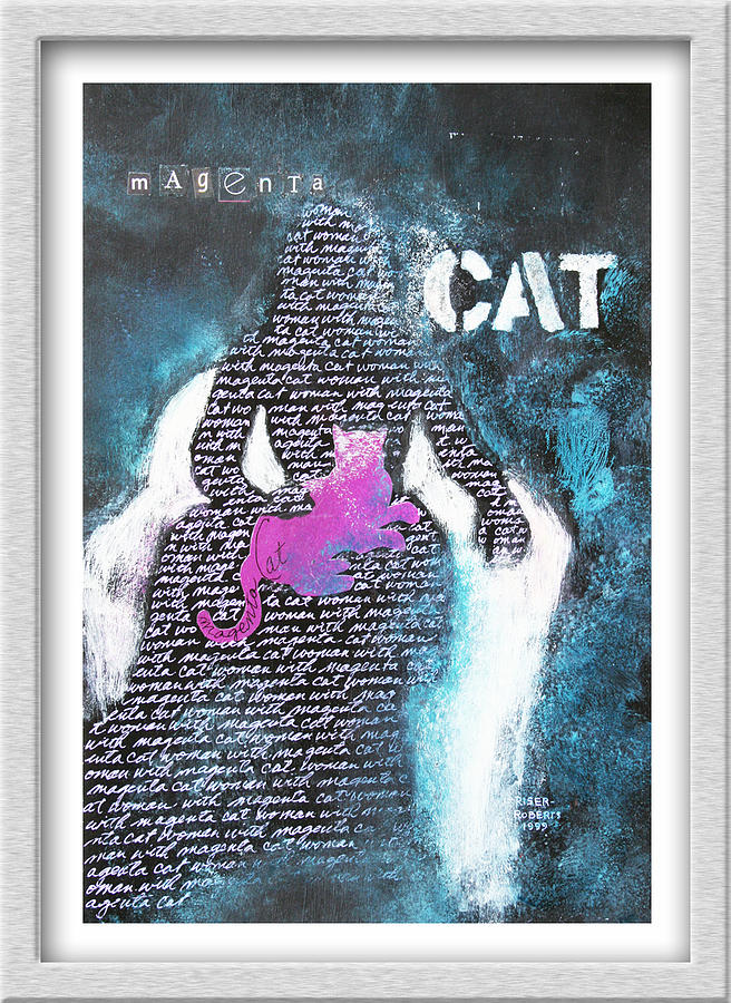 Using Words In Art On Canvas Painting - Woman With Magenta Cat by Eve Riser Roberts