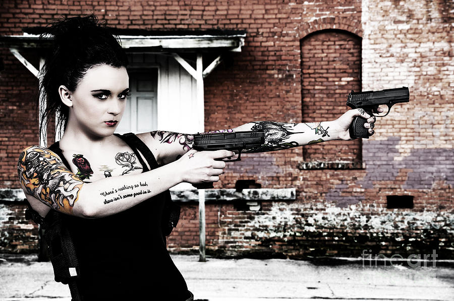 Agent Photograph - Woman With Pistols by Rob Byron