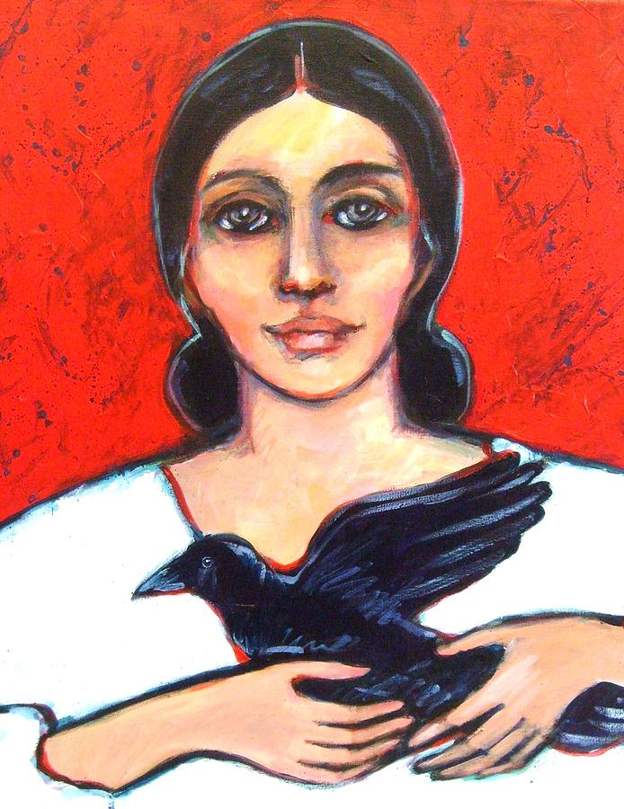 Woman Painting - Woman With Raven by Carol Suzanne Niebuhr