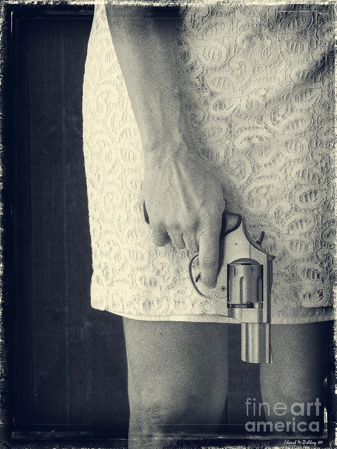 Pistol Photograph - Woman With Revolver 60 X 45 Custom by Edward Fielding