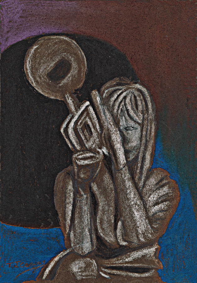 Trumpet Painting - Woman With Trumpet by Tom Conway