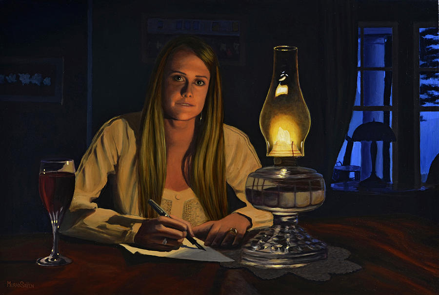 Woman Writing by Lamplight by Murad Sayen