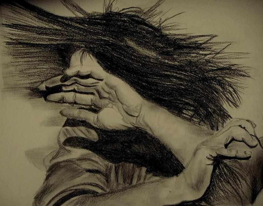 Lead Pencil Drawing - Women Abuse by Umme Kulsoom