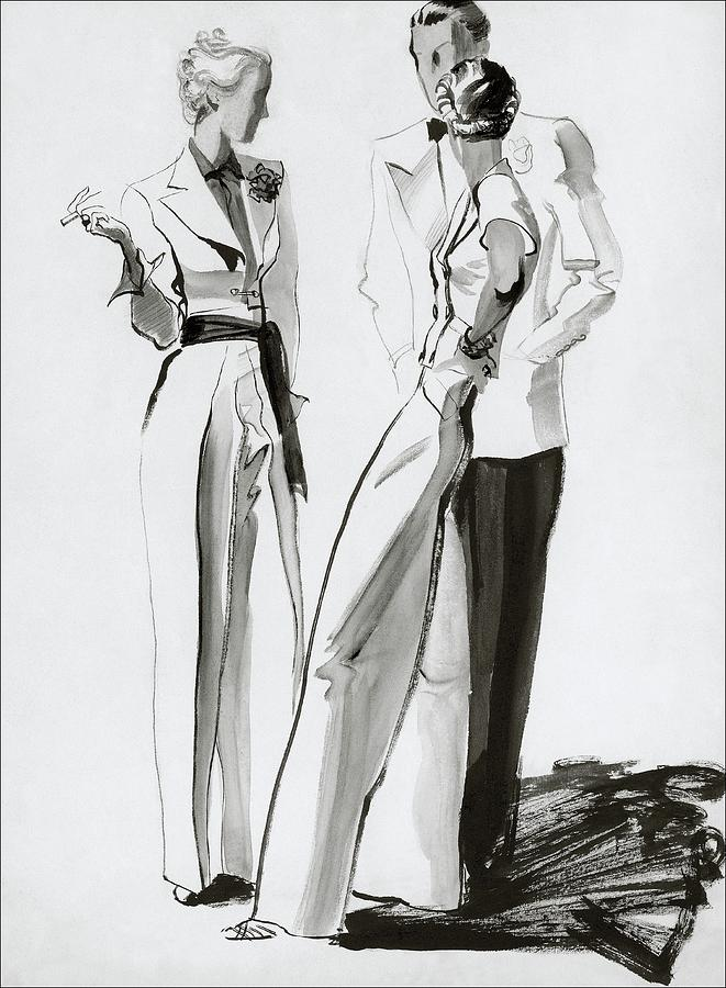 Women And A Man In Suits Digital Art by Rene Bouet-Willaumez
