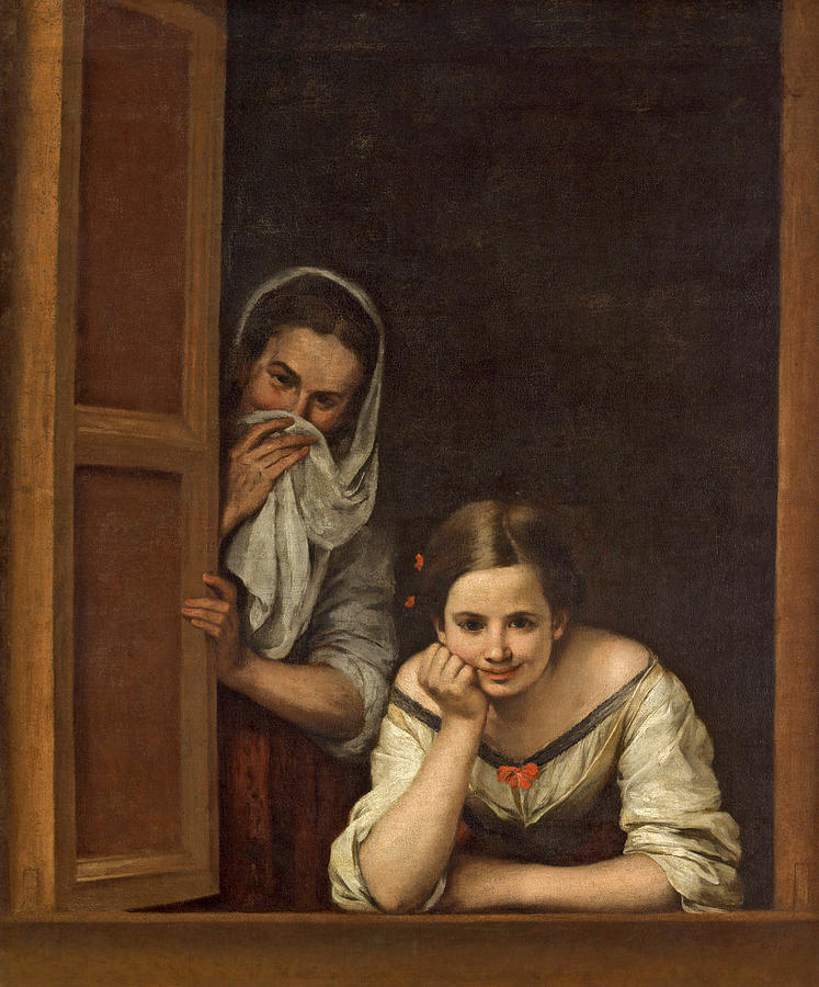 Murillo Painting - Women From Galicia At The Window by Bartolome Esteban Murillo