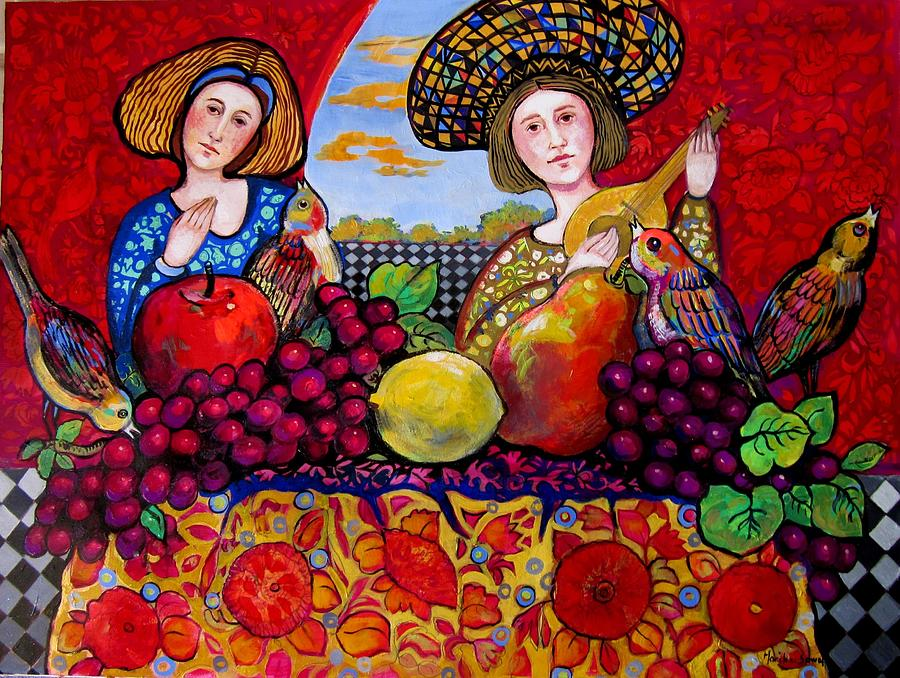Music Painting - Women fruit and music by Marilene Sawaf