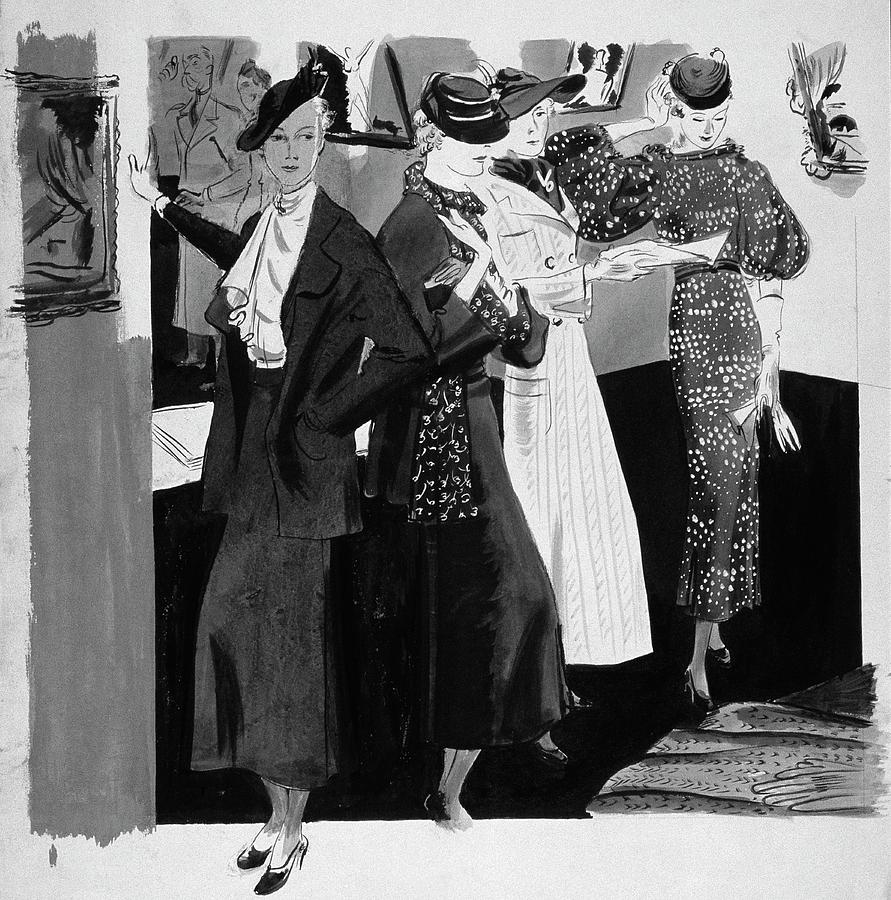 Women In A Gallery Digital Art by Jean Pages
