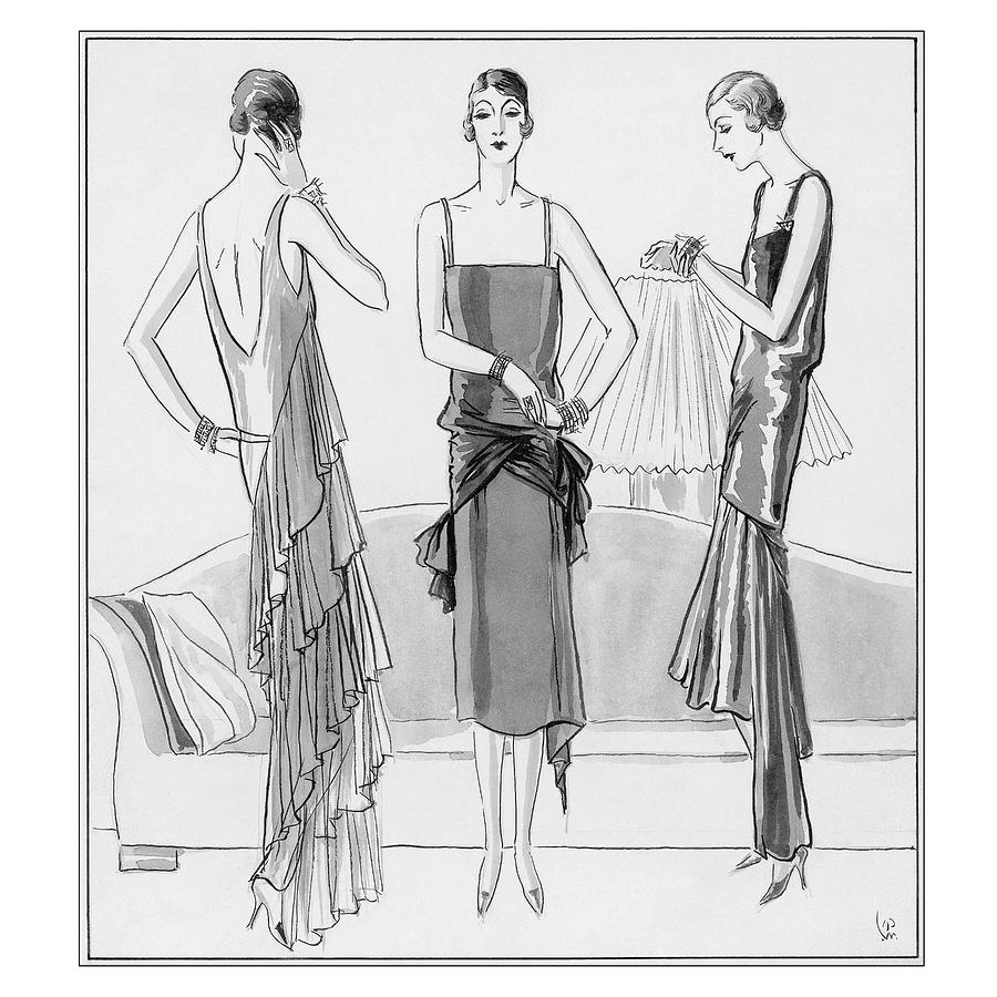 Women Model Evening Dresses Digital Art by Porter Woodruff