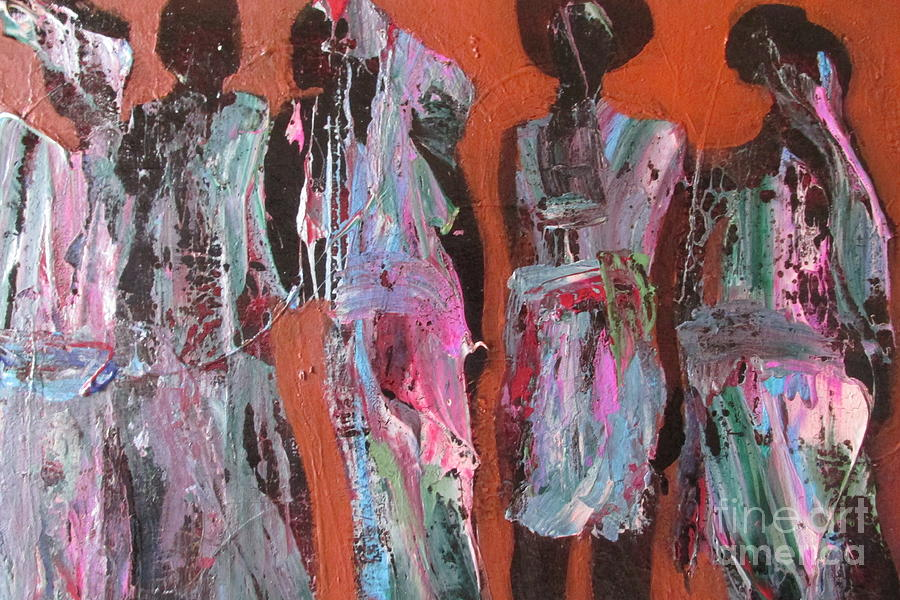 African Women Painting - Women Of Dodoma by Omar Hafidi