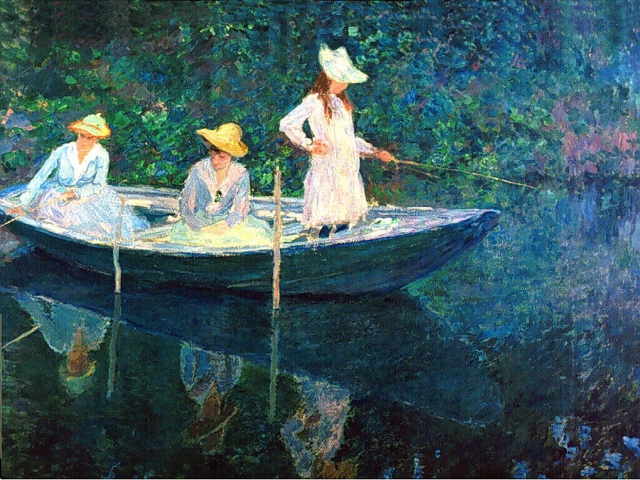 Women On A Boat Painting by Claude Monet
