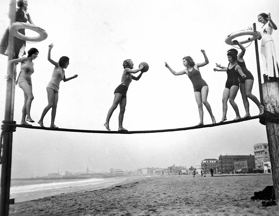 1929 Photograph - Women Play Beach Basketball by Underwood Archives