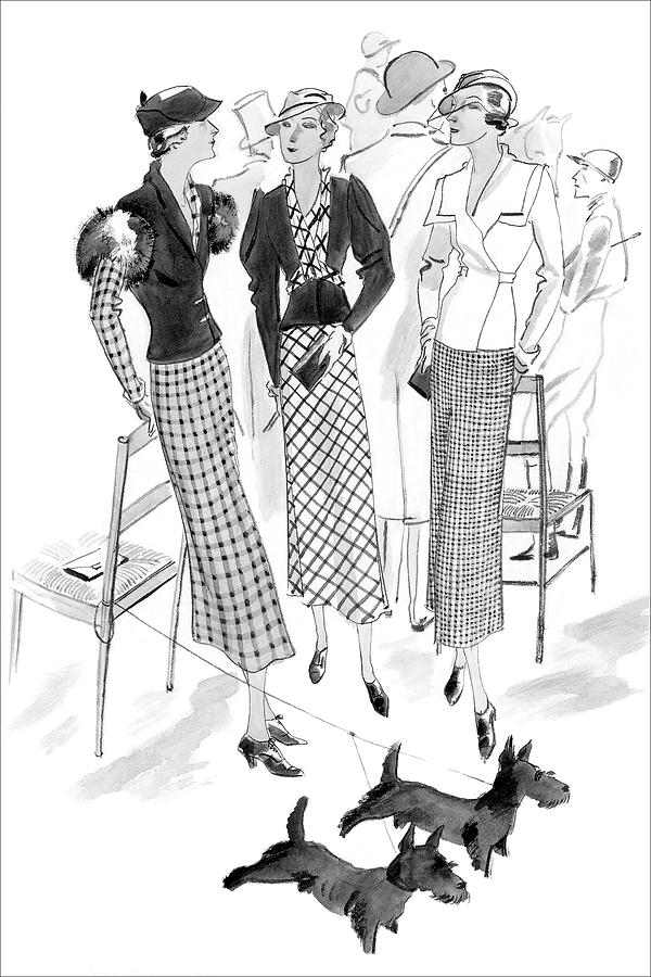 Women Wearing Checked Suits Digital Art by Jean Pages