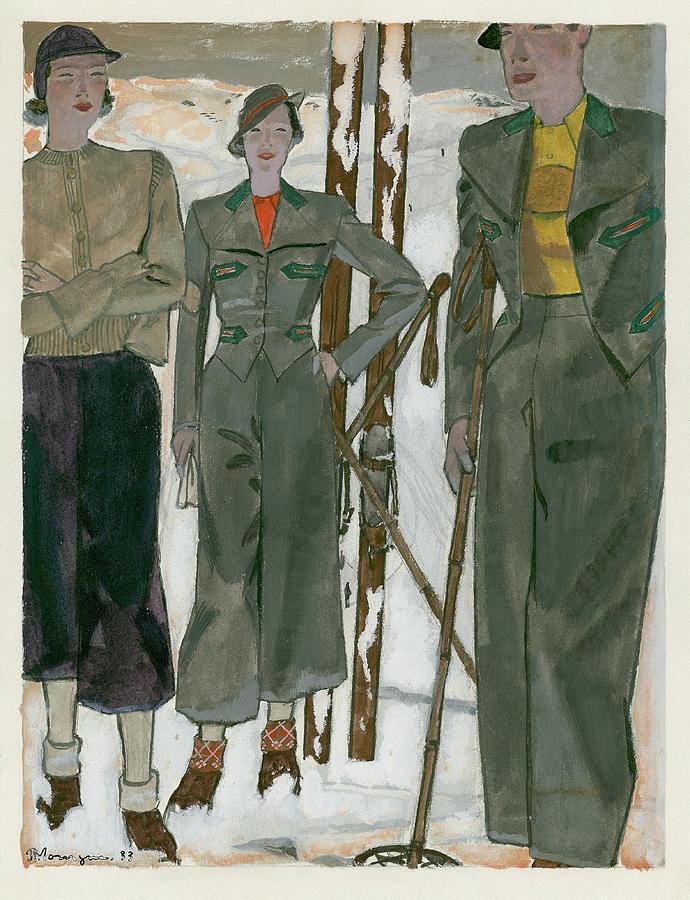 Women Wearing Mainbocher And Knize Digital Art by Pierre Mourgue