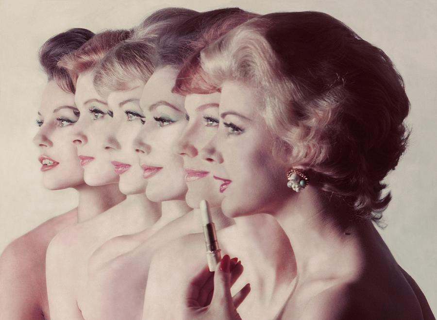 Women Wearing Revlon Lipstick Photograph by John Rawlings