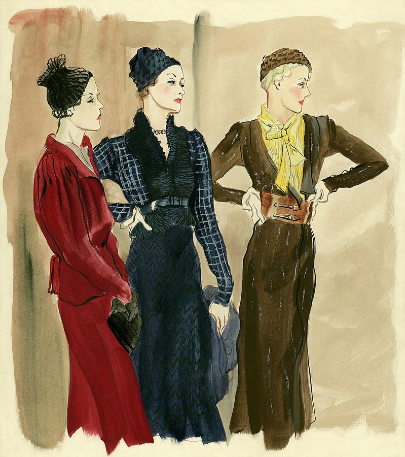 Fashion Digital Art - Women Wearing Schiaparelli by Rene Bouet-Willaumez